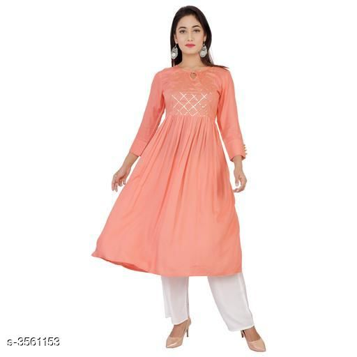 Kurta Sets Stylish Heavy 14 Kg Rayon Kurta Set  *Fabric* Kurti - Heavy 14 Kg Rayon, Cotton  Palazzo - Heavy 14 Kg Rayon, Cotton  *Sleeves* Sleeves Are Included  *Size* Kurti - S- 36, M- 38, L- 40, XL- 42, XXL- 44, Palazzo- S- 28, M- 30, L- 32, XL- 34, XXL- 36    *Length* Kurti - 46 inch, Palazzo- 40 inch  *Type* Stitched  *Description* It Has 1 Piece Of Kurti With 1 Piece Of Palazzo  *Work/Solid* Kurti - Gota Work/ Printed, Palazzo - Solid/ Printed  *Sizes Available* S, M, L, XL, XXL   Supplier Rating: ★4.1 (1099) SKU: SOLIDPEACHSUIT001 Free shipping is available for this item. Pkt. Weight Range: 500  Catalog Name: Ariya Stylish Heavy 14 Kg Rayon Kurta Sets Vol 12 - Star Collections Code: 907-3561153--