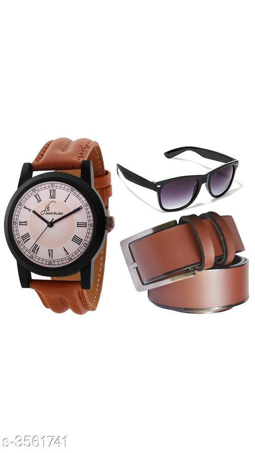 Trendy Men's Watches & Belt Combo