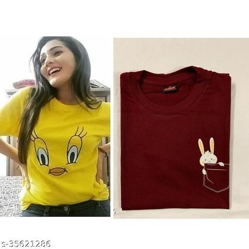 Fancy Women Cotton Tshirt(Pack of 2)