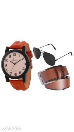 Trendy Men's Watches & Belt & Sunglass Combo