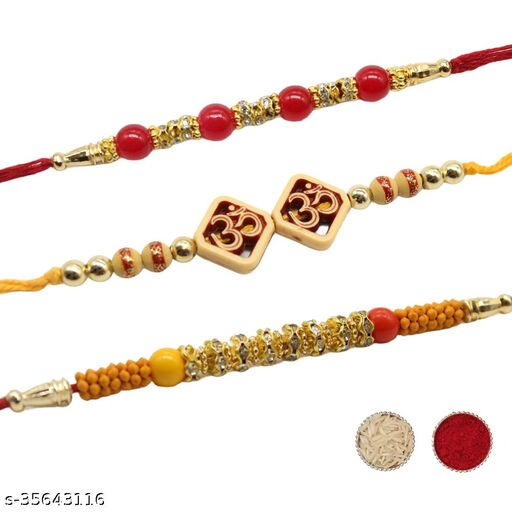 Traditional Multicolored Stone Beaded Rakhis Combo Pack of 3