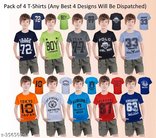 Boys T-shirts Number Print Pack of 4