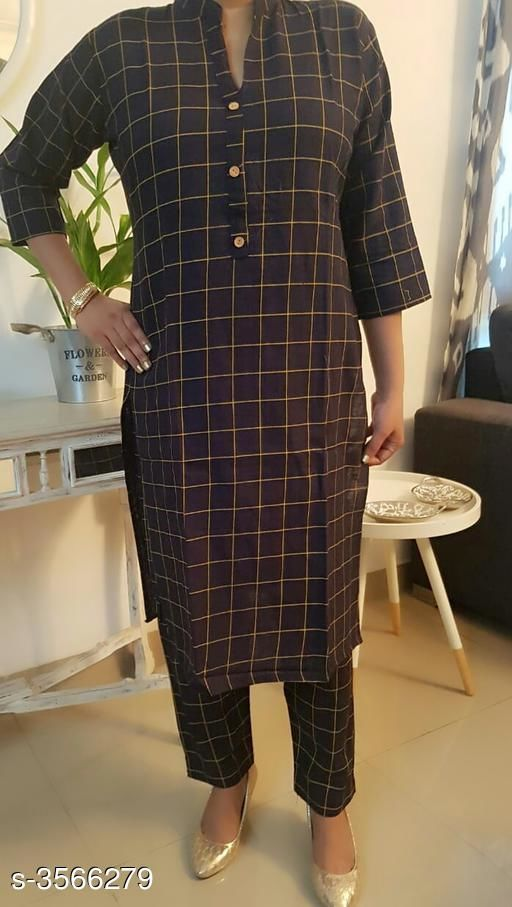 Kurta Sets Women's Checked Cotton Kurta set with Pants  *Fabric* Kurti - Cotton, Pant - Cotton  *Sleeves* Sleeves Are Included  *Size* Kurti - L - 40 in,  Pant - L- 32 in  *Length* Kurti - Up To 42 in, Pant - Up To 34 in  *Type* Stitched  *Description* It Has 1 Piece Of Women's Kurti With 1 Piece Of Pant  *Pattern* Kurti - Checkered, Pant - Checkered  *Sizes Available* L, XL *    Catalog Name: Women's Checked Cotton Kurta Sets CatalogID_497192 C74-SC1003 Code: 805-3566279-