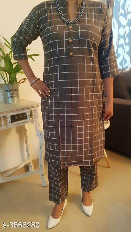 Kurta Sets Women's Checked Cotton Kurta set with Pants  *Fabric* Kurti - Cotton, Pant - Cotton  *Sleeves* Sleeves Are Included  *Size* Kurti - L - 40 in,  Pant - L- 32 in  *Length* Kurti - Up To 42 in, Pant - Up To 34 in  *Type* Stitched  *Description* It Has 1 Piece Of Women's Kurti With 1 Piece Of Pant  *Pattern* Kurti - Checkered, Pant - Checkered  *Sizes Available* L, XL *    Catalog Name: Women's Checked Cotton Kurta Sets CatalogID_497192 C74-SC1003 Code: 805-3566280-