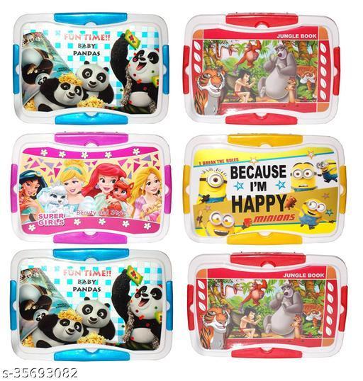Kotak Sales Green Garden Kids Children Fun Food Cartoon Print Lunchbox 750ML Container with 2in1 Spoon Fork & 150ML Dip 4 Lock Leak Proof Return Party Gifts for Kids Birthday Parties (Set of 06Pcs)