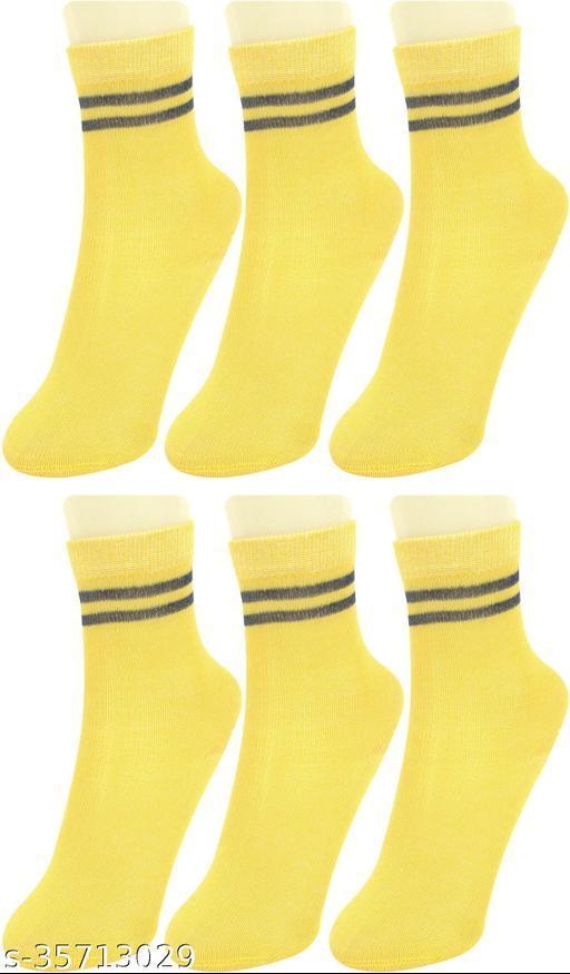 Neska Moda Boys & Girls Pack Of 6 Pair Cotton Striped Mid-Calf/Crew Socks For 1  To 3 Years (Yellow)