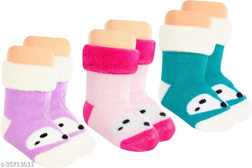 Neska Moda Baby Boys & Baby Girls Pack Of 3 Pair Cotton Animal Print Ankle Length Socks For 0  To 24 Months (Pink,Purple,Dark Green,White)