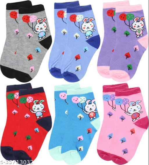 Neska Moda Boys & Girls Pack Of 6 Pair Cotton Geometric Print Ankle Length Socks For 7  To 10 Years (Purple,Red,Blue,Maroon,Pink,Grey)