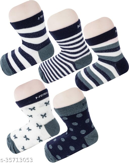 Neska Moda Boys & Girls Pack Of 5 Pair Cotton Striped Ankle Length Socks For 3  To 6 Years (Dark Blue,White)