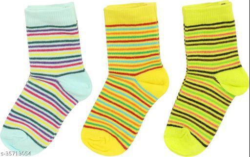 Neska Moda Baby Boys & Baby Girls Pack Of 3 Pair Cotton Striped Mid-Calf/Crew Socks For 1  To 3 Years (Light Blue,Green,Yellow)