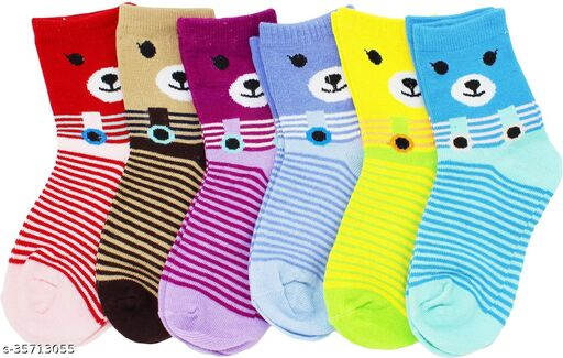 Neska Moda Boys & Girls Pack Of 6 Pair Cotton Striped Ankle Length Socks For 7  To 10 Years (Multicolor)