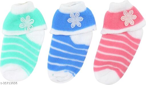 Neska Moda Baby Boys & Baby Girls Pack Of 3 Pair Cotton Striped Ankle Length Socks For 2  To 3 Years (Green,Blue,Pink)