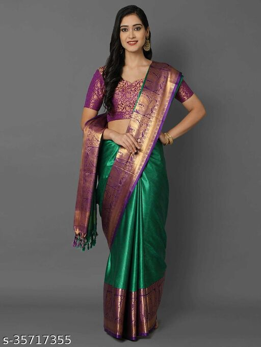Womens Soft Cotton Muslin Silk Jacquard Stylish Saree in Trending Designer with Blouse