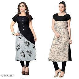 Women's Crepe Printed Long Kurti Combo of 2