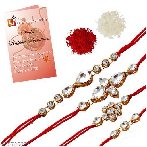 Lucky Jewellery Fancy Rakhi Gold Plated Red Thread For Bro/Brother/Bhaiya/Bhai/Bhabhi (Pack of 4) Rakshabandan Rakhe White Stone Rakhee Bracelet Rakshasutra For Boys & Men (159-L1R1-02-W-4) Rakhi Combos