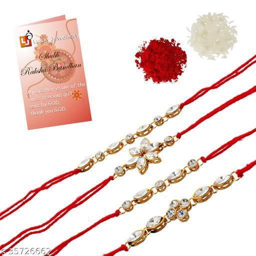 Lucky Jewellery Fancy Rakhi Gold Plated Red Thread For Bro/Brother/Bhaiya/Bhai/Bhabhi (Pack of 4) Rakshabandan Rakhe White Stone Rakhee Bracelet Rakshasutra For Boys & Men (149-L1R1-11-W-4)