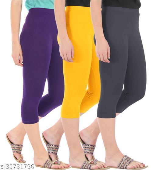 Befli Combo Pack of 3 Skinny Fit 3/4 Capris Leggings for Women Purple Golden Yellow Grey