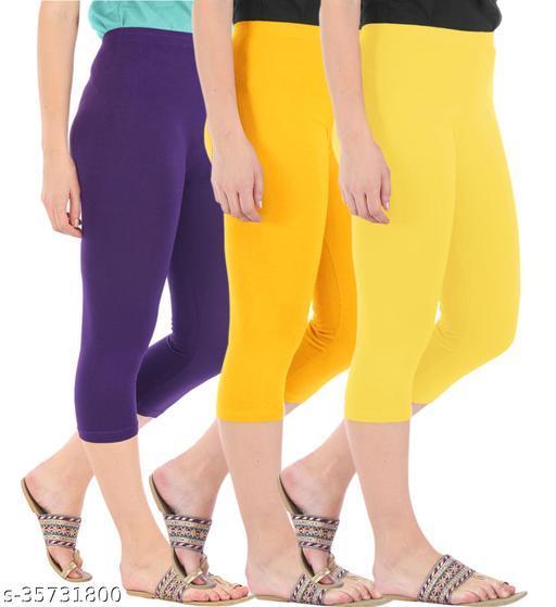 Befli Combo Pack of 3 Skinny Fit 3/4 Capris Leggings for Women Purple Golden Yellow Lemon Yellow