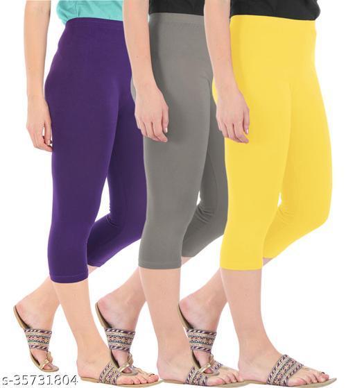 Befli Combo Pack of 3 Skinny Fit 3/4 Capris Leggings for Women Purple Ash Lemon Yellow
