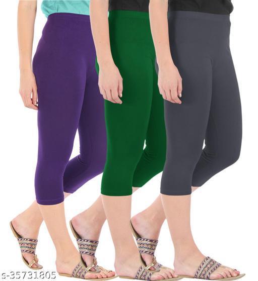 Befli Combo Pack of 3 Skinny Fit 3/4 Capris Leggings for Women Purple Bottle Green Grey