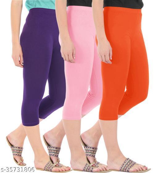 Befli Combo Pack of 3 Skinny Fit 3/4 Capris Leggings for Women Purple Baby Pink Flame Orange