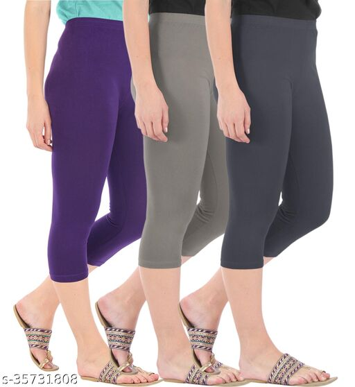 Befli Combo Pack of 3 Skinny Fit 3/4 Capris Leggings for Women Purple Ash Grey