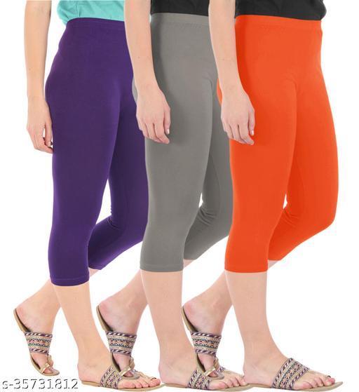 Befli Combo Pack of 3 Skinny Fit 3/4 Capris Leggings for Women Purple Ash Flame Orange
