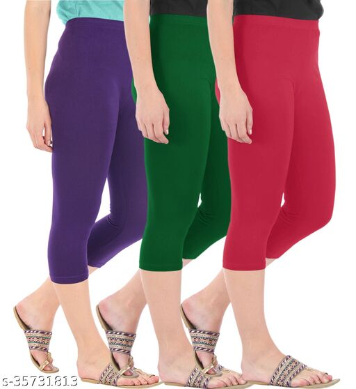 Befli Combo Pack of 3 Skinny Fit 3/4 Capris Leggings for Women Purple Bottle Green Tomato Red