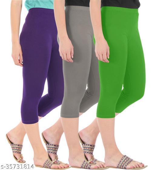 Befli Combo Pack of 3 Skinny Fit 3/4 Capris Leggings for Women Purple Ash Parrot Green