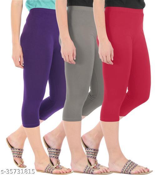 Befli Combo Pack of 3 Skinny Fit 3/4 Capris Leggings for Women Purple Ash Tomato Red