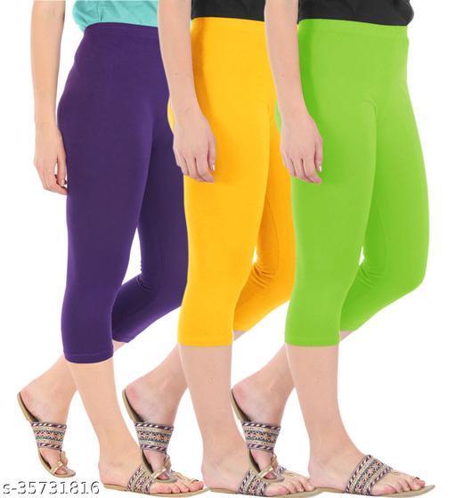 Befli Combo Pack of 3 Skinny Fit 3/4 Capris Leggings for Women Purple Golden Yellow Merin Green