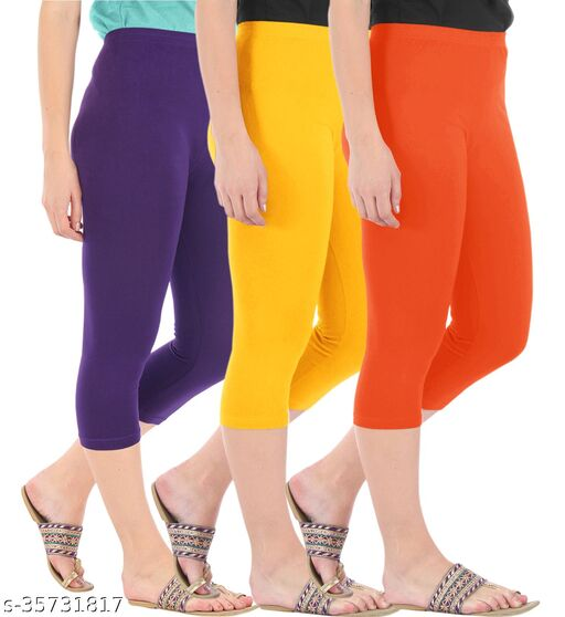Befli Combo Pack of 3 Skinny Fit 3/4 Capris Leggings for Women Purple Golden Yellow Flame Orange