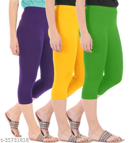 Befli Combo Pack of 3 Skinny Fit 3/4 Capris Leggings for Women Purple Golden Yellow Parrot Green