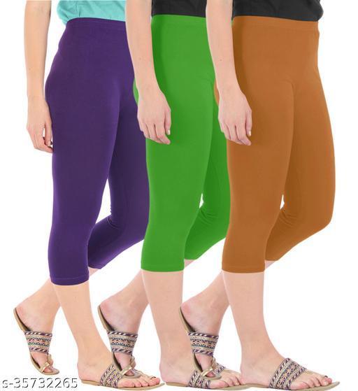 Befli Combo Pack of 3 Skinny Fit 3/4 Capris Leggings for Women Purple Parrot Green Khaki