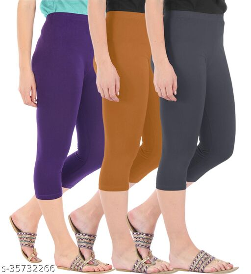 Befli Combo Pack of 3 Skinny Fit 3/4 Capris Leggings for Women Purple Khaki Grey