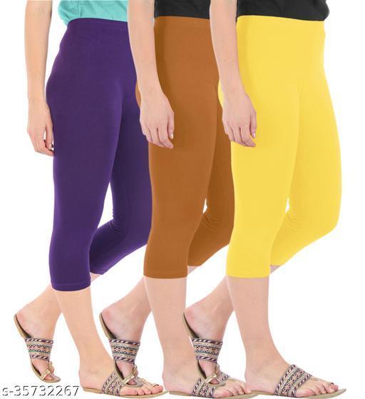 Befli Combo Pack of 3 Skinny Fit 3/4 Capris Leggings for Women Purple Khaki Lemon Yellow
