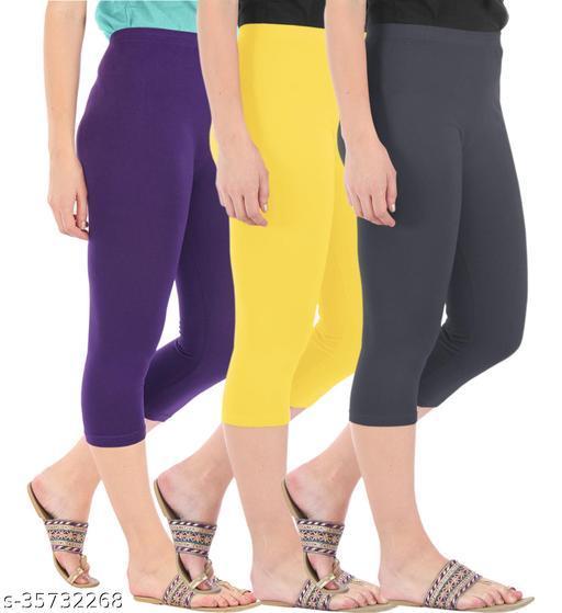 Befli Combo Pack of 3 Skinny Fit 3/4 Capris Leggings for Women Purple Lemon Yellow Grey