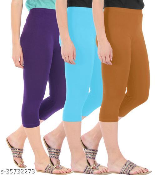 Befli Combo Pack of 3 Skinny Fit 3/4 Capris Leggings for Women Purple Sky Blue Khaki