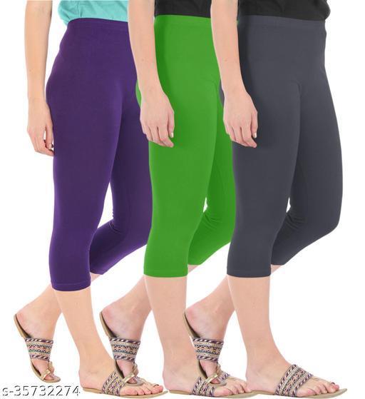 Befli Combo Pack of 3 Skinny Fit 3/4 Capris Leggings for Women Purple Parrot Green Grey