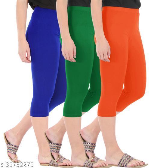 Befli Combo Pack of 3 Skinny Fit 3/4 Capris Leggings for Women Royal Blue Jade Green Flame Orange