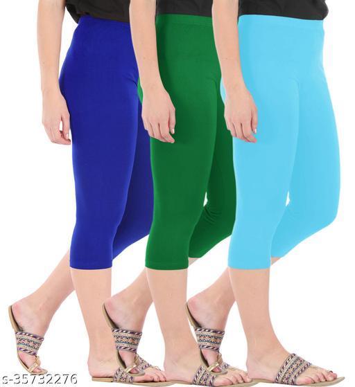 Befli Combo Pack of 3 Skinny Fit 3/4 Capris Leggings for Women Royal Blue Jade Green Sky Blue