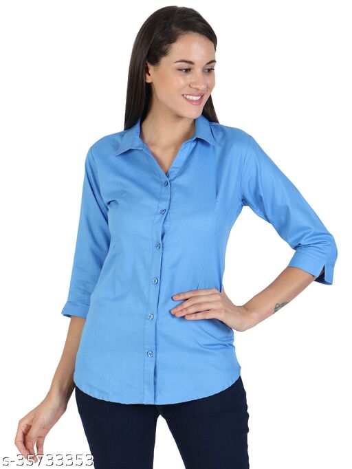 Stylish Female Foldable Sleeves  Soft Cotton Cool V-Neck Buttoned Slim Fit Umbrella Cut Bottom Shirt.