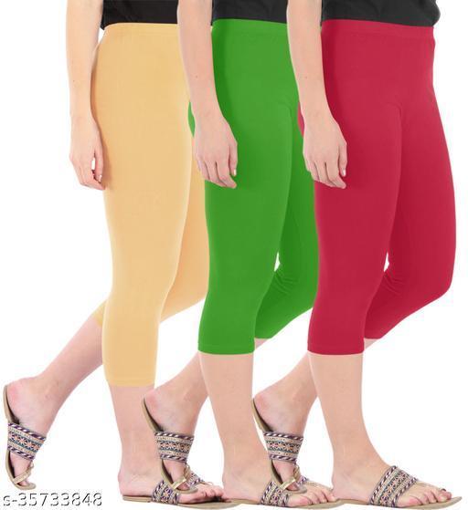 Befli Combo Pack of 3 Skinny Fit 3/4 Capris Leggings for Women Dark Skin Parrot Green Tomato Red