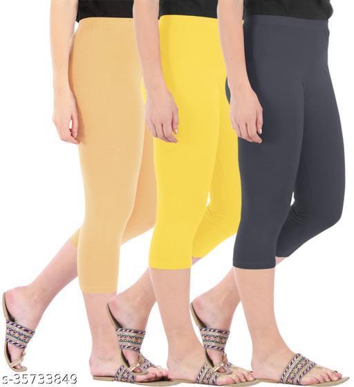 Befli Combo Pack of 3 Skinny Fit 3/4 Capris Leggings for Women Dark Skin Lemon Yellow Grey