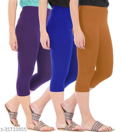 Befli Combo Pack of 3 Skinny Fit 3/4 Capris Leggings for Women Purple Royal Blue Khaki