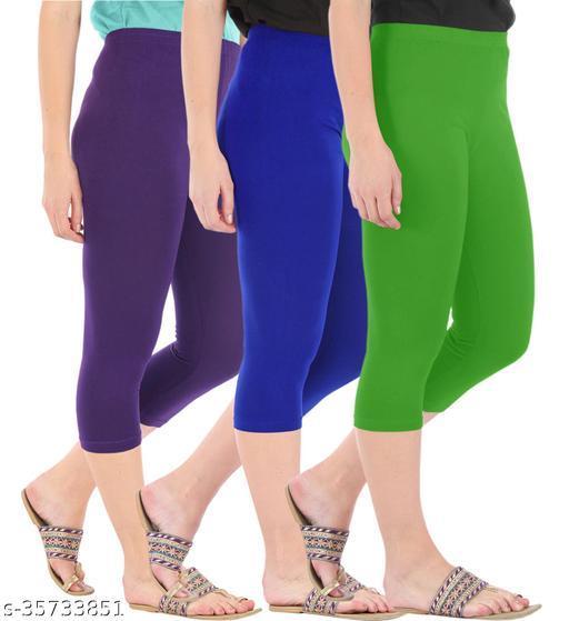 Befli Combo Pack of 3 Skinny Fit 3/4 Capris Leggings for Women Purple Royal Blue Parrot Green