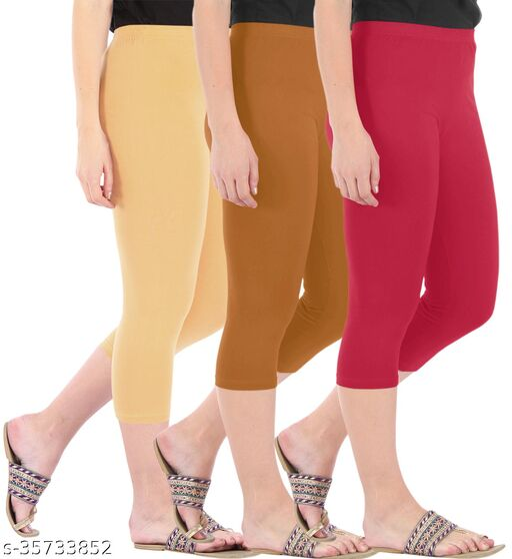 Befli Combo Pack of 3 Skinny Fit 3/4 Capris Leggings for Women Dark Skin Khaki Tomato Red