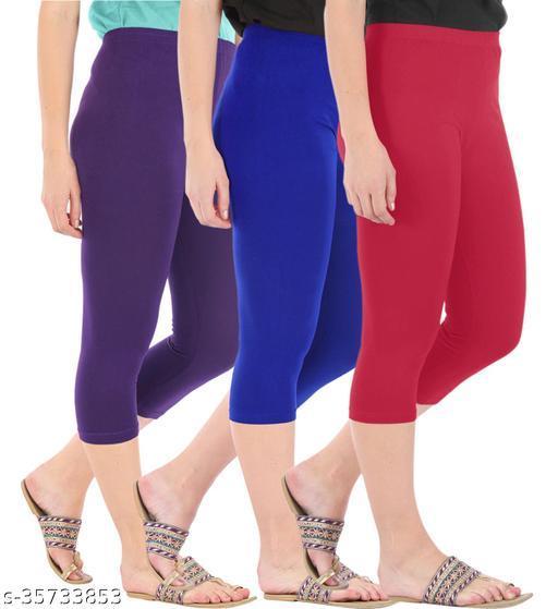 Befli Combo Pack of 3 Skinny Fit 3/4 Capris Leggings for Women Purple Royal Blue Tomato Red