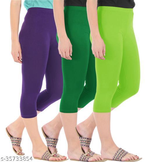 Befli Combo Pack of 3 Skinny Fit 3/4 Capris Leggings for Women Purple Jade Green Merin Green