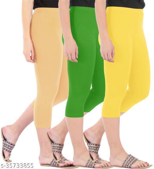 Befli Combo Pack of 3 Skinny Fit 3/4 Capris Leggings for Women Dark Skin Parrot Green Lemon Yellow